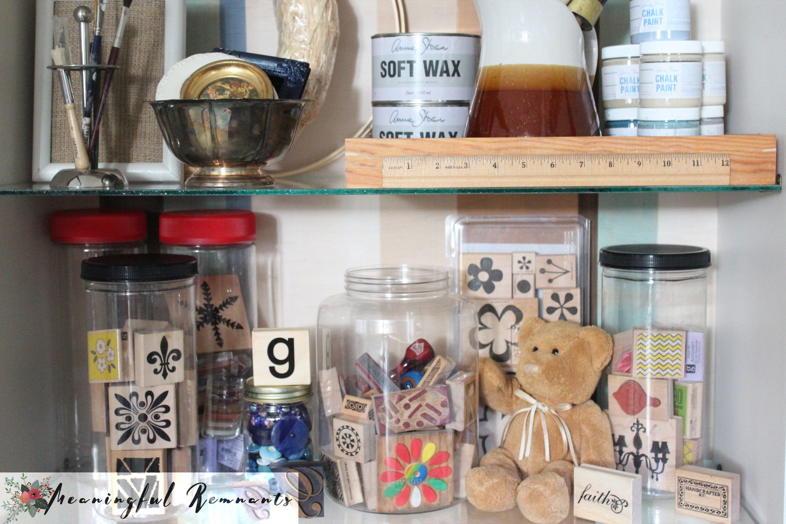 craft supplies in cabinet