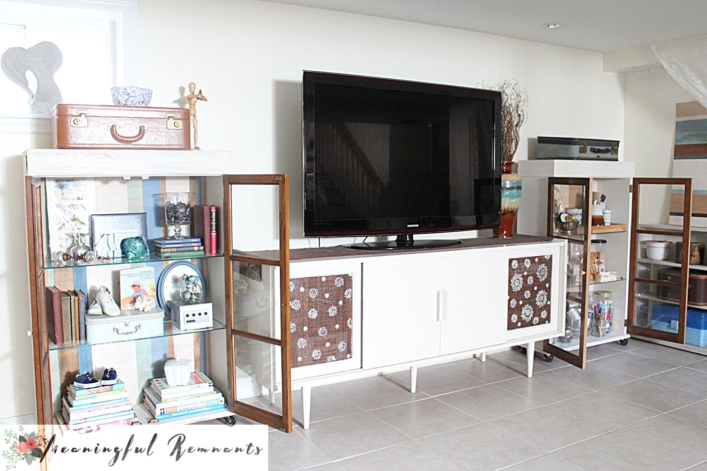 media cabinet flanked cabinets